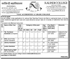 Kalindi College Non-Teaching Notification 2017