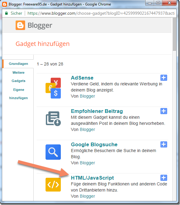 Blogspot HTML Javascript Code hinzufügen