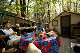 Prepping for our trip at Gary and Alison's place in Yosemite Valley.