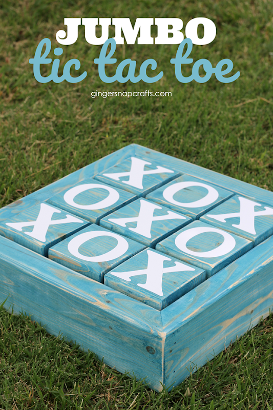 Jumbo Tic Tac Toe Board at GingerSnapCrafts.com #tictactoe #games