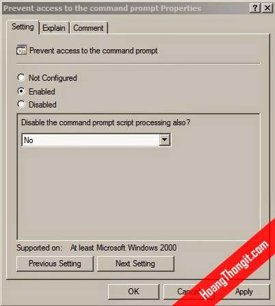 Chặn sử dụng Command line bằng group policy object
