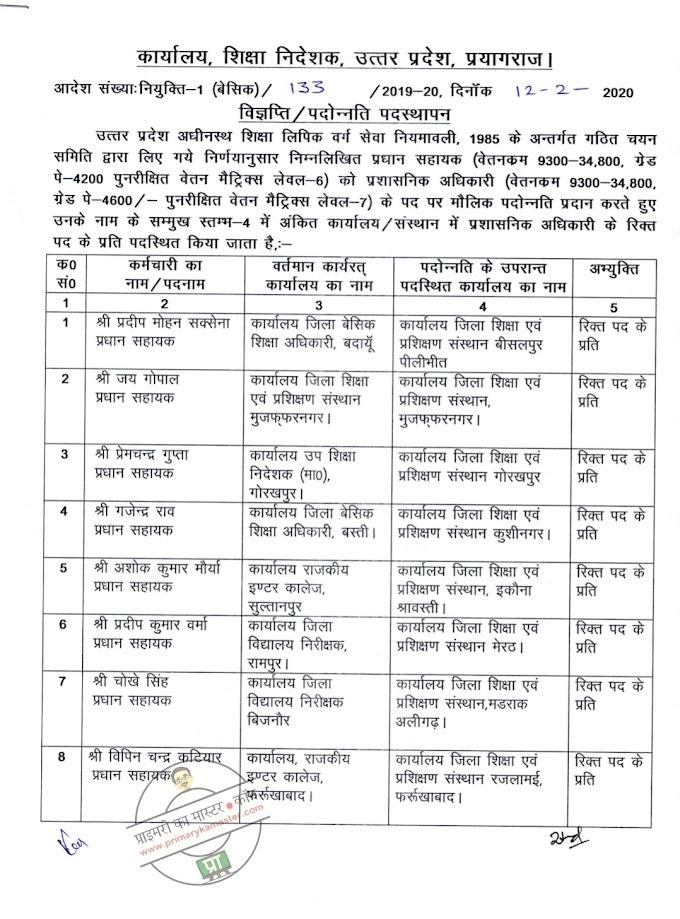 विभिन्न जनपदों के 17 प्रधान सहायकों को प्रशासनिक अधिकारी पद पर पदोन्नत्ति प्रदान करते हुए पदस्थापन आदेश जारी