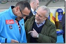 Sarri con il presidente De Laurentiis