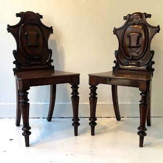 Victorian Mahogany Hall Chair Pair