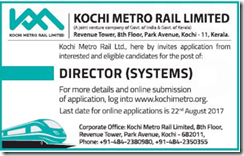 KMRL Director Jobs 2017 www.indgovtjobs.in
