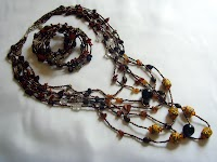 Seeded Necklace (West African Beads) + Memory Wire Bracelet