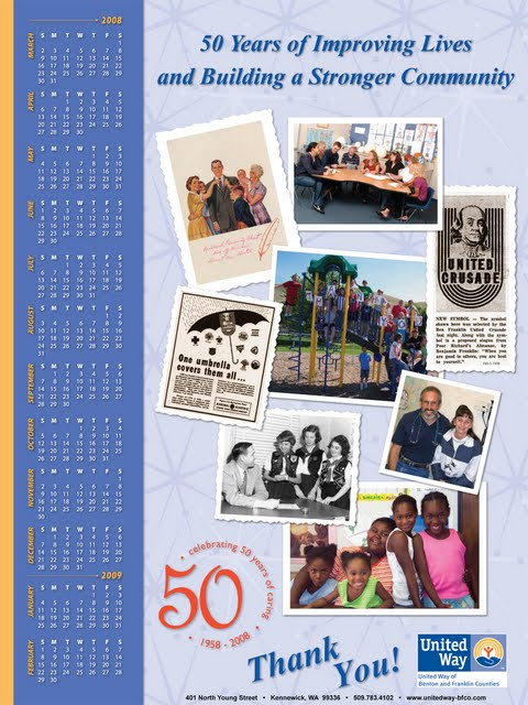 United Way calendar celebrating 50 years in the Tri-Cities area.