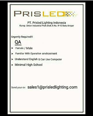 Lowongan Kerja QA | PT. Prisled Innovative Lighting Indonesia