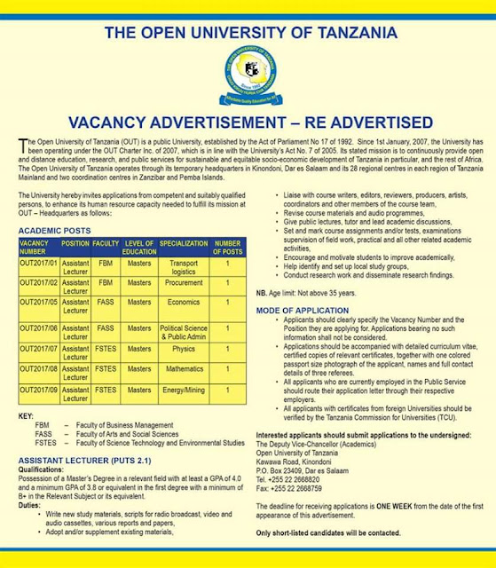 RE ADVERTISED JOB VACANCY AT OPEN UNIVERSITY TANZANIA (OUT), LECTURER IS WANTED.