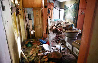 Terrible explosion of a domestic gas cylinder