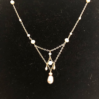 14 K Gold & Pearl Drop Necklace