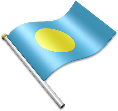 The Palauan flag on a flagpole clipart image