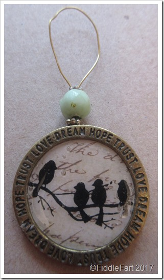 stamped bird tag decoration sentiment ring