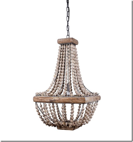 Creative Co-Op Metal Chandelier with Wood Beads,