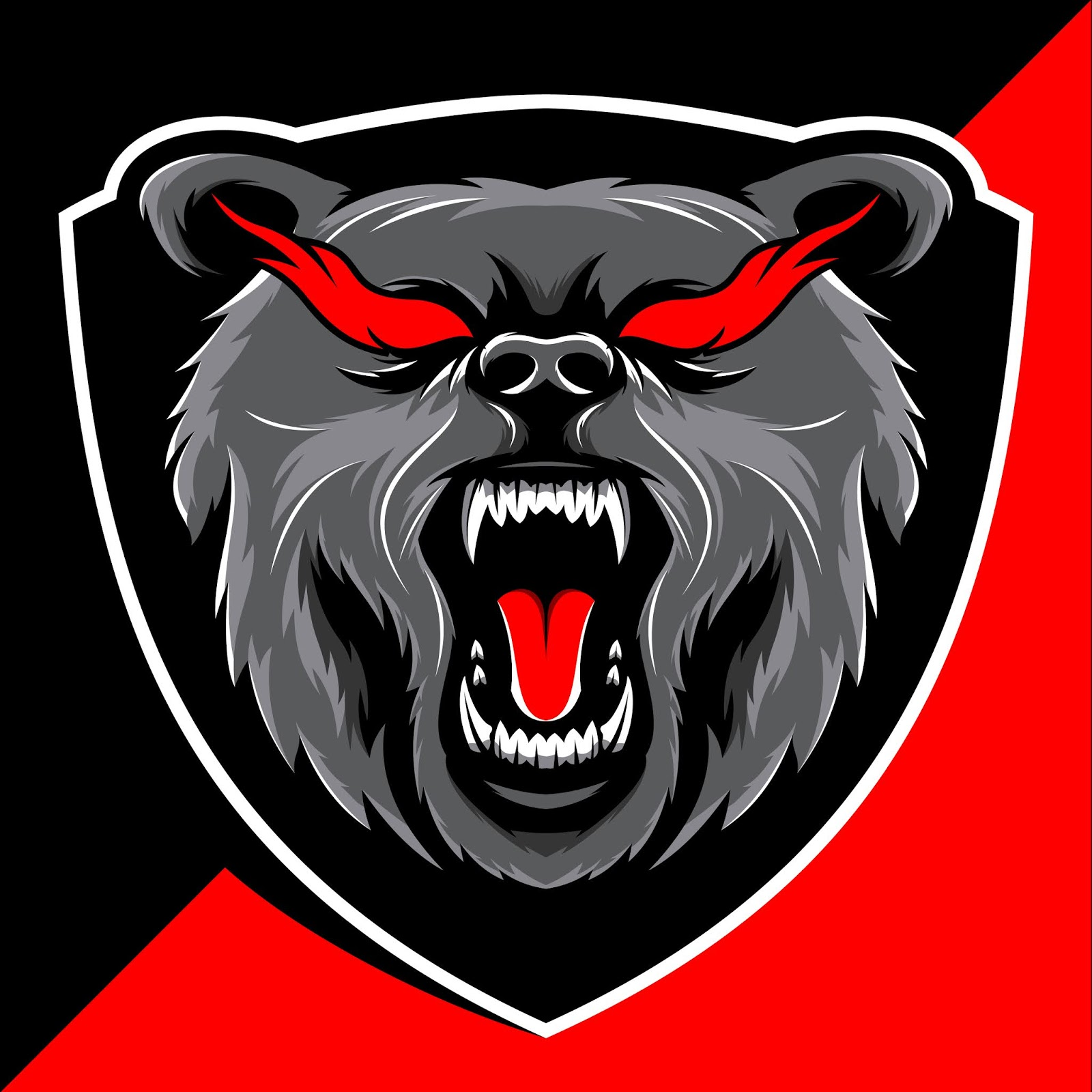 Angry Bear Head Mascot Esport Logo Design Free Download Vector CDR, AI, EPS and PNG Formats
