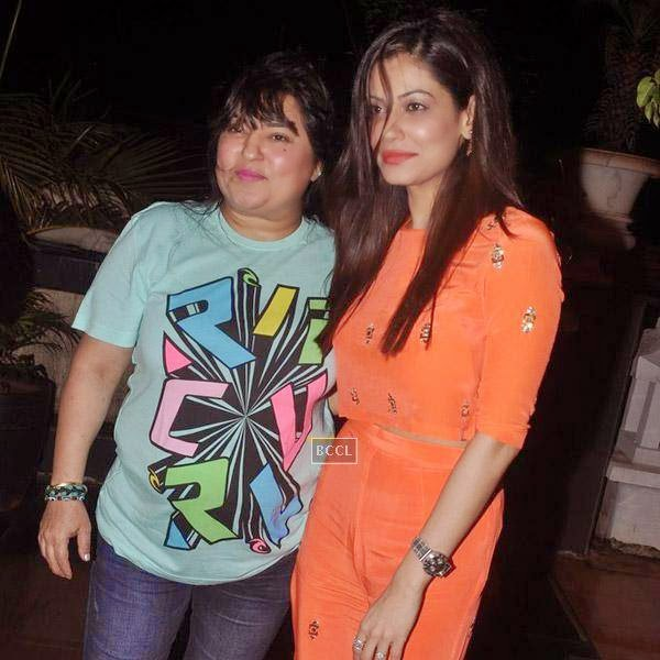 Dolly Bindra and Payal Rohatgi during Sangram Singh's birthday party, held at Churchgate, on July 20, 2014.(Pic: Viral Bhayani)