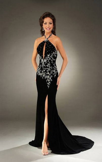 abendkleider  - Abendkleider - Black Dress - Kleid bestickt - langes Kleid
