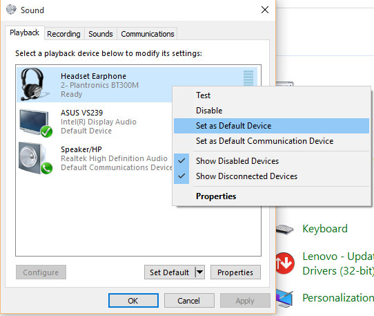 4e93ed6dd8c Until this is fixed, you must change your Windows default settings while  making a call: Control Panel --> Sound --> [Playback tab | Recording tab]: