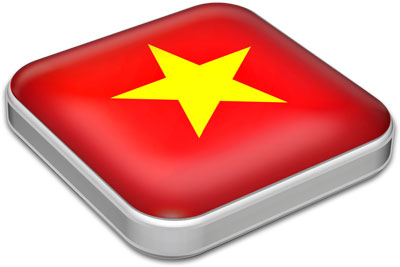 Flag of Vietnam with metallic square frame