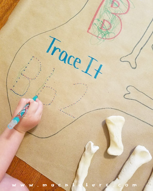 Trace Letters and Numbers: Dinosaur Bones Activity Mat for Kids