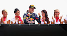 Vettel on bridge to podium with grid girls