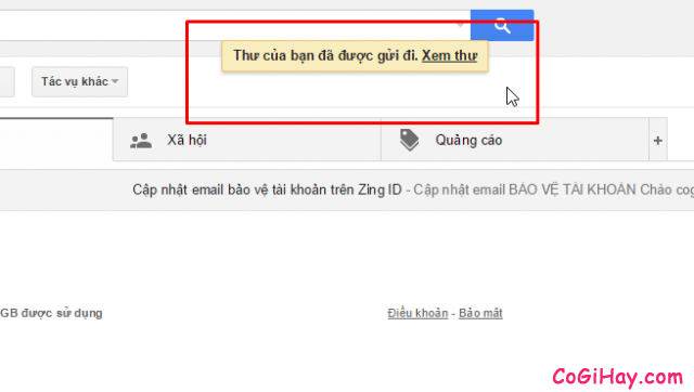 đã gửi được email gmail