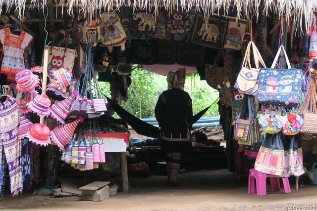 Colourful woven handicraft for sale at the hill-tribe village.