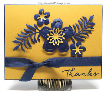 Linda Vich Creates: Exciting News and Botanical Thank You. Night of Navy Botanical Blooms pair with Delightful Dijon in this thank you card.