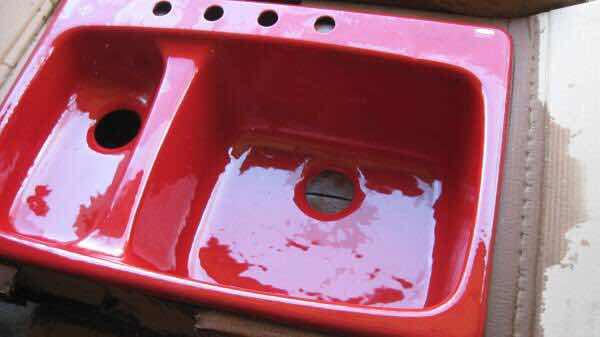 Find Discontinued Plumbing Fixtures Kohler Lakefield Red Kitchen Sink