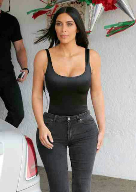 Kim Kardashian's waist looks smaller than ever....