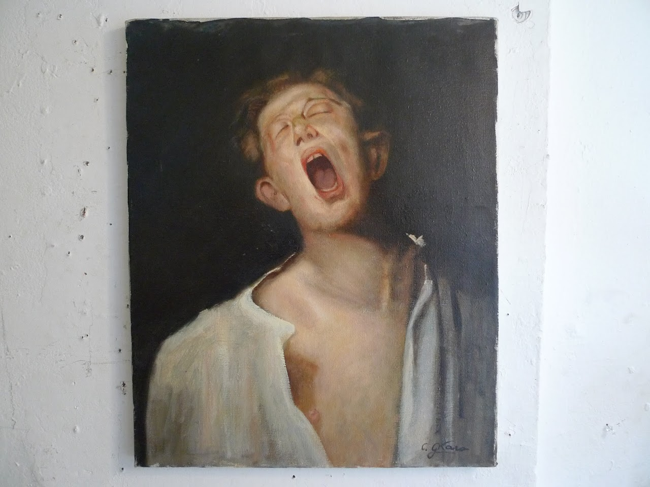 Yawning Young Man Signed Portrait