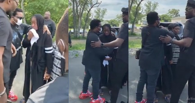 Moment Olamide Hugs and Console Sound Sultan's Wife after the Burial of Her Husband [Video]