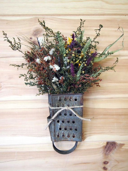 Cheese Grater Flower Holder