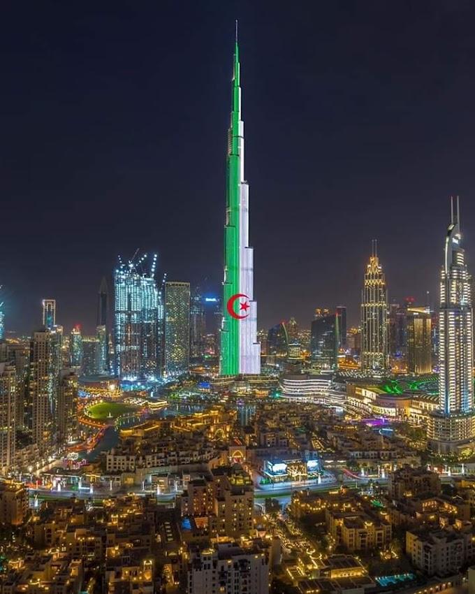 Por el 58 aniversario de la independencia de Argelia, El Burj Khalifa se ilumina con la bandera