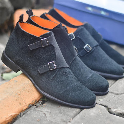 black suede monk-strap shoes by infamous by glenn judo