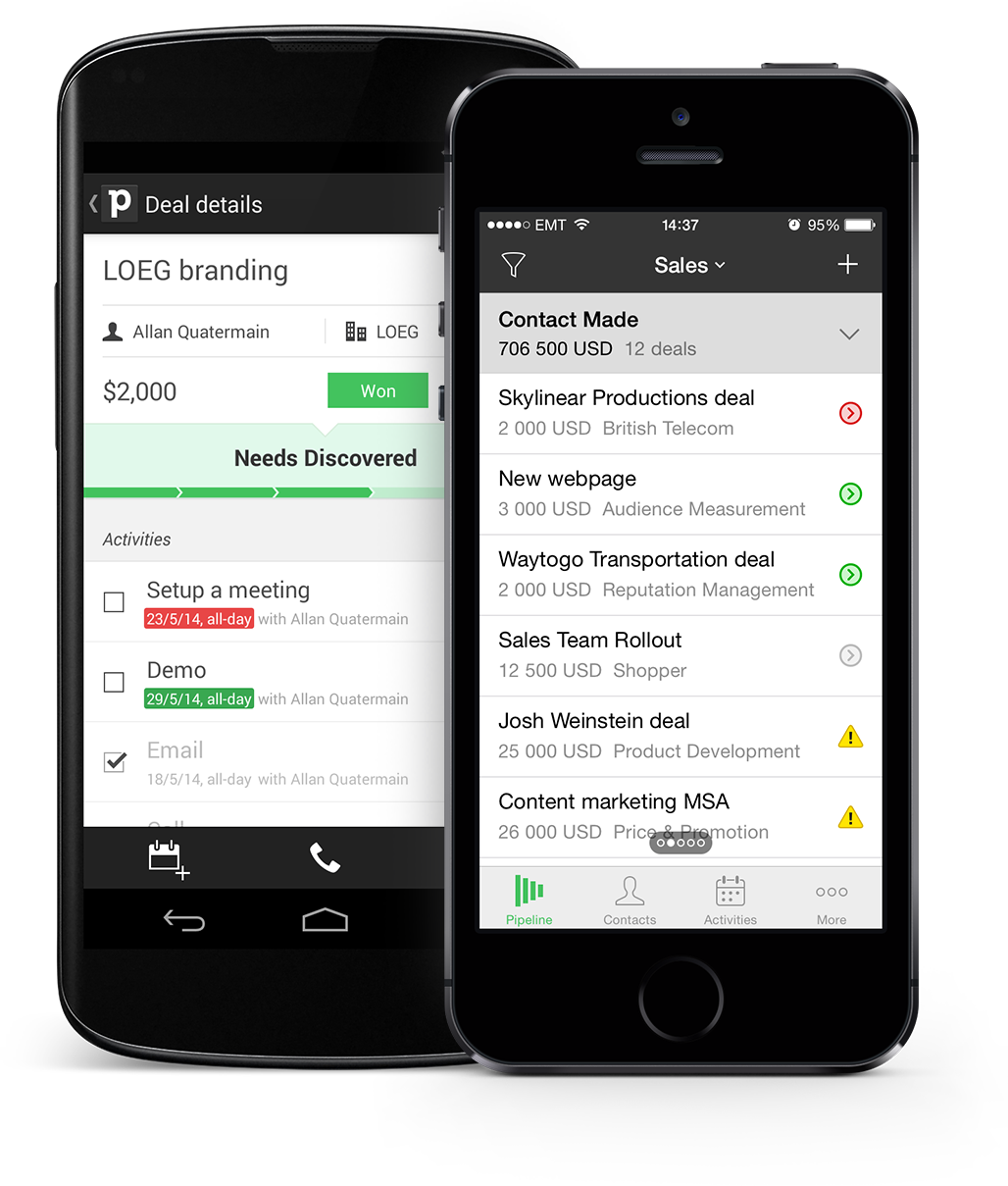 Pipedrive has full support for mobile apps- take your leads and contacts database with you, and update it on-the-go.