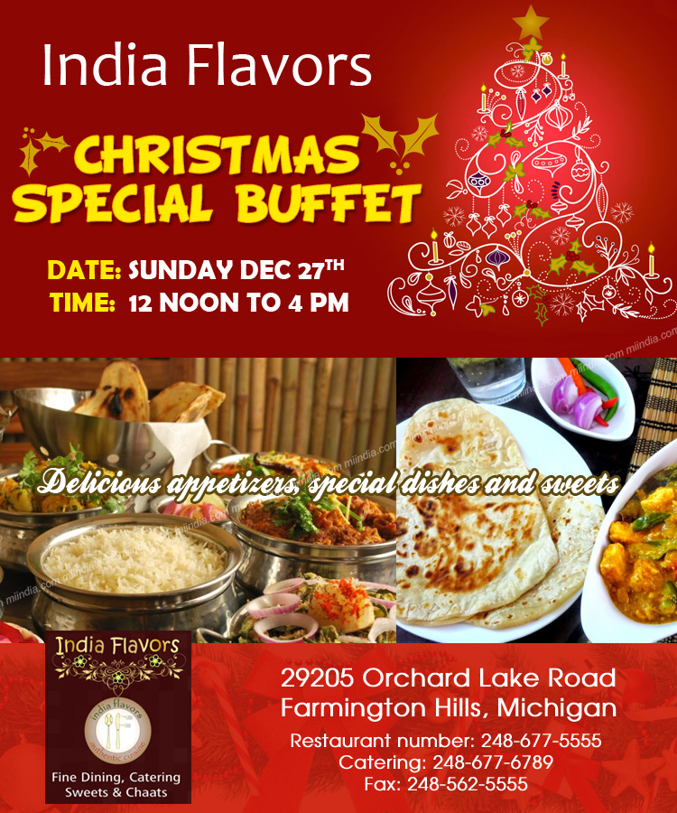 Christmas In India Food.Christmas Special Buffet India Flavors In Detroit Michigan