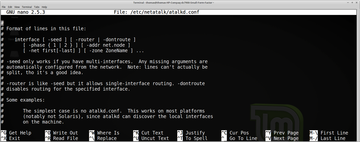 65 Terminal for editing netatalk correctly