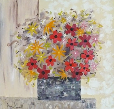 Medley of Flowers Nikki Hainault, Oil, 30 x 30