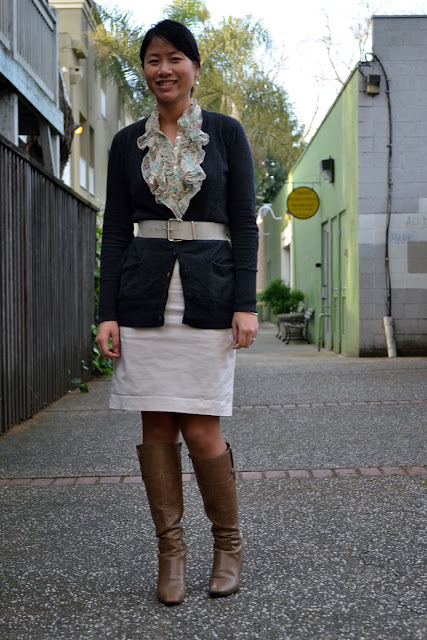sacramento office fashion blogger angeline evans the new professional loft cardigan skirt vintage belt nine west boots business casual