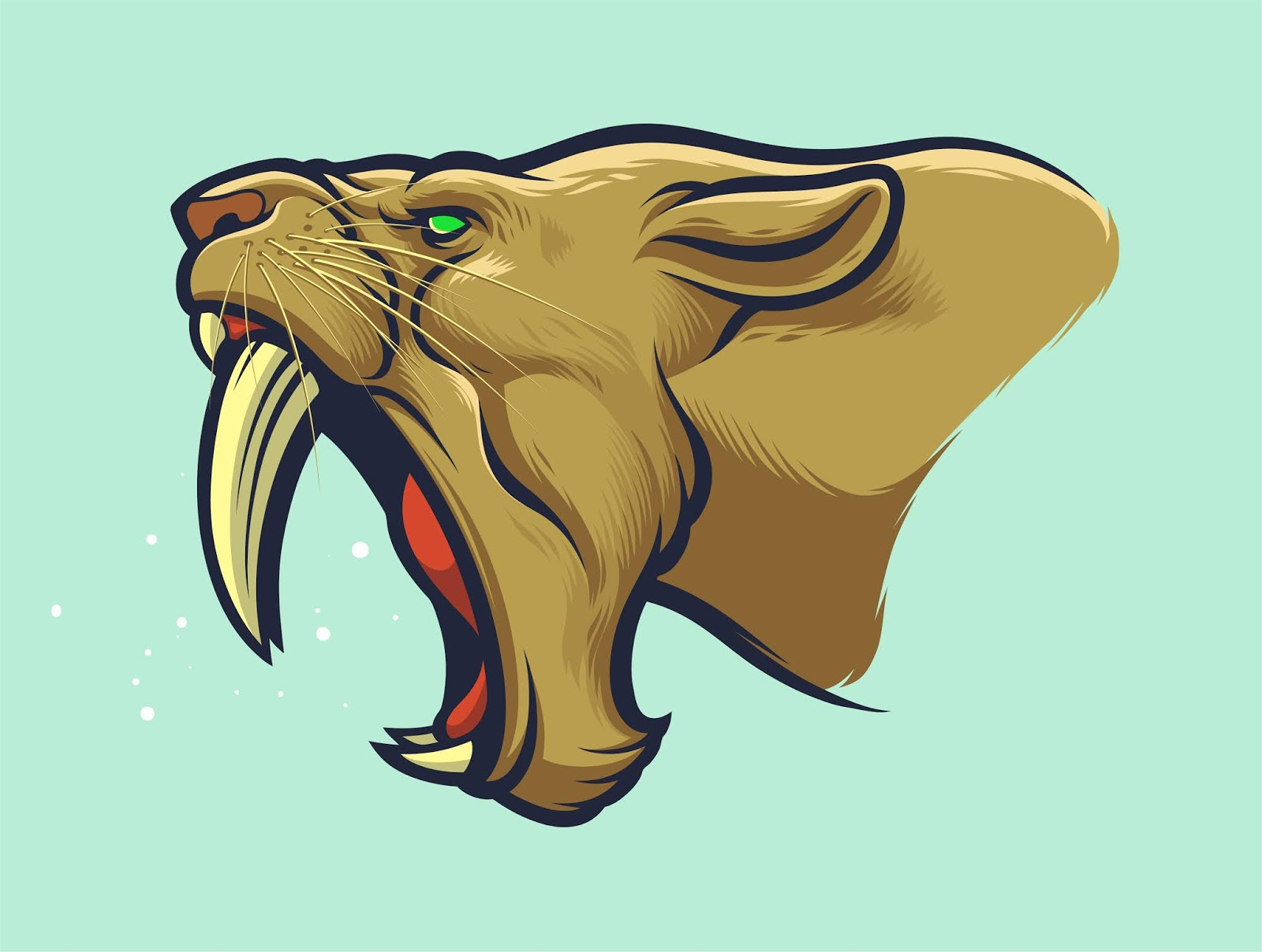 Sabertooth Tiger Head Patch Design Sport Free Download Vector CDR, AI, EPS and PNG Formats