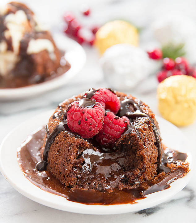 photo of Molten Nutella Lava Cake with fresh raspberries