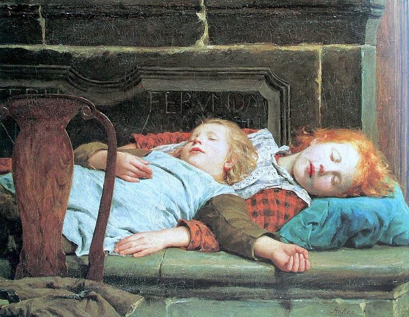 Albert Anker - Zwei schlafende Mädchen auf der Ofenbank