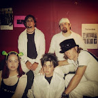 #ThrowbackThursday Taken before playing The Royal Baltimore. We looked like a pop group that night. #SkitzoCalypso #shrekears #kangolhat #tbt #fishnet #afterlaborday