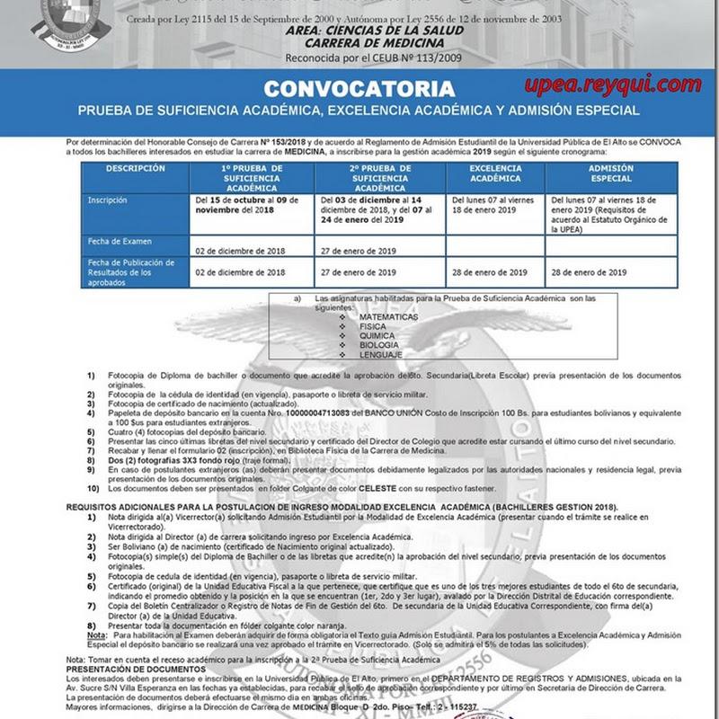 Medicina UPEA 2019: Convocatoria para la Prueba de Suficiencia Académica y Excelencia Académica