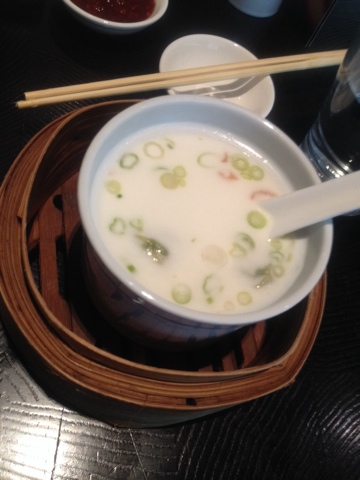 Chinese vegetable soup with wontons at Ping Pong in London