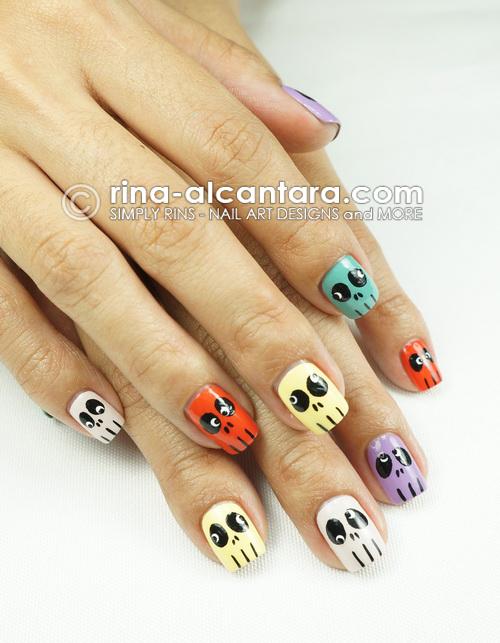Skulls Skittles Halloween Nail Art Design