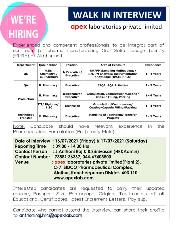 Walk-in For QA, QC, Production, Technology Transfer At Apex Laboratories