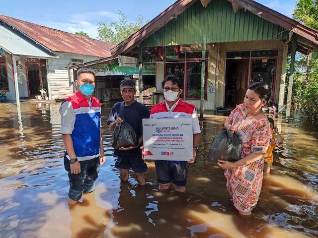 Peduli Banjir Kalteng, Pertamina Salurkan Paket Sembako kepada Masyarakat Terdampak