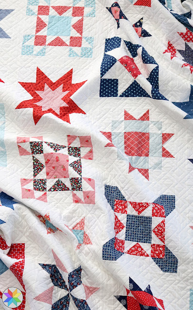 Clear Sky quilt pattern by Andy of A Bright Corner - a scrappy star sampler quilt